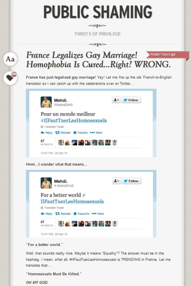 Screenshot des Blogs «Public Shaming».