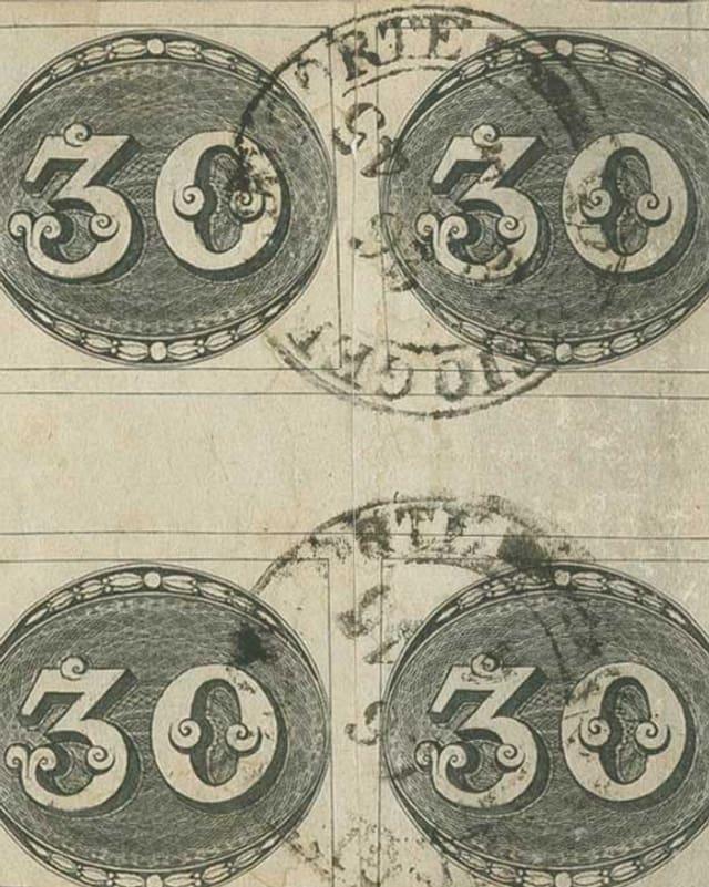 Vierer-Block von Ochsenaugen-Briefmarken.
