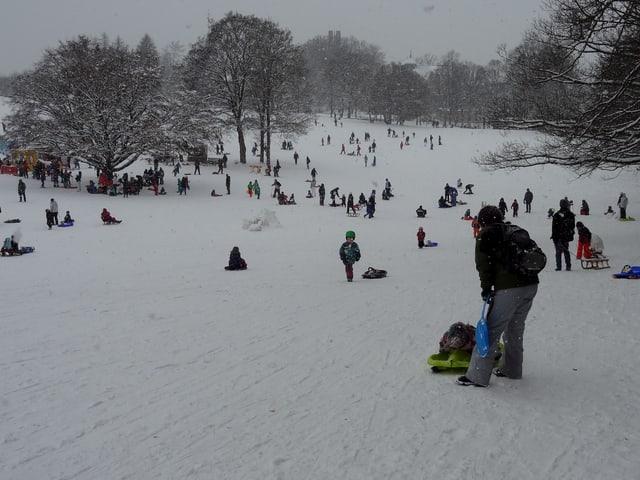 Kinder und Erwachsen tummeln sich auf der Schlittenwiese am Gurten, es schneit leicht.