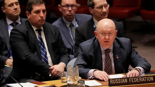 Russlands Uno-Botschafter Wassili Nebensja spricht in New York