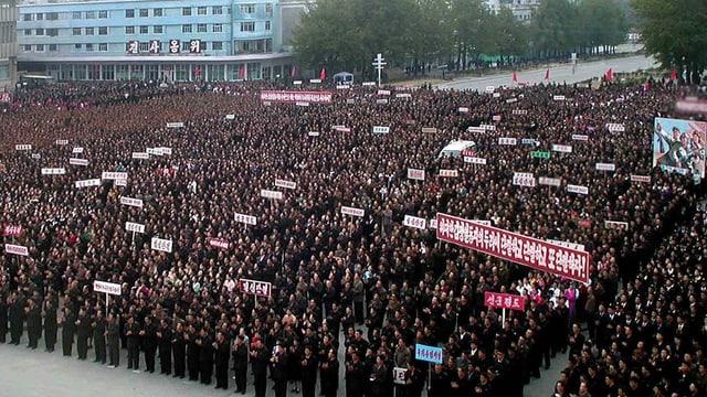 Eine Demonstration in Pjöngjang.