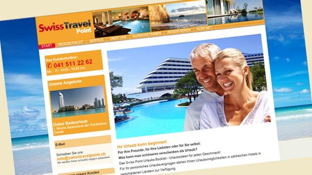 Printscreen der Internetseite von Swiss Travel Point