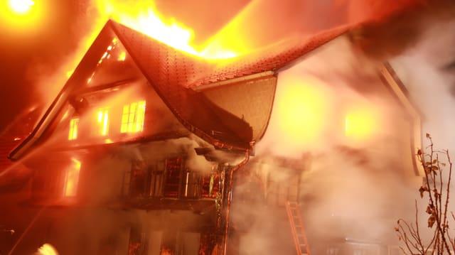 Haus voller Flammen