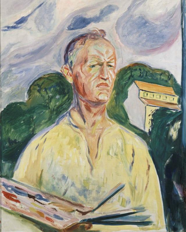 Bild: Ein Mann mit Farbpalette und Pinseln in der Hand. Im Hintergrund ein Hügel und ein Haus.