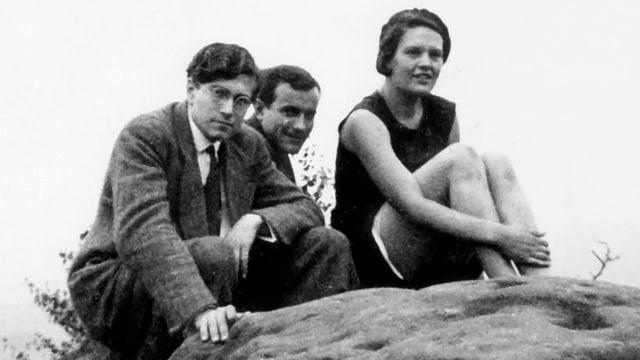 Karl Ulrich Schnabel, Franz Schnyder und Herta Kröhling bei den Dreharbeiten zu «Das Kalte Herz» 1932.