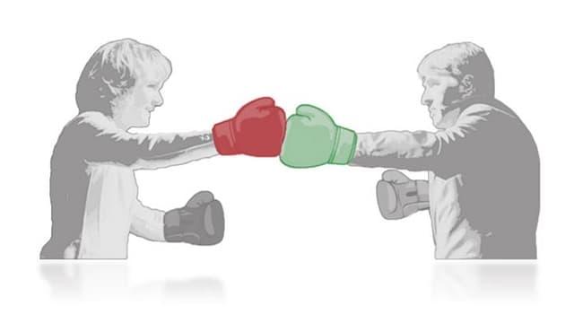 Ursula Wyss und Alec von Graffenried mit rotem resp. grünem Boxerhandschuh (gezeichnet)