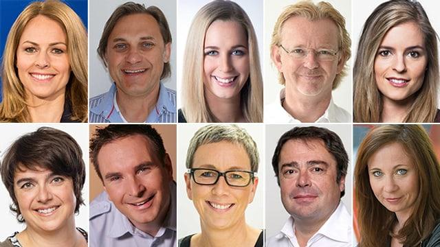 Bildcollage mit Porträts von zehn Reporterinnen und Reportern.