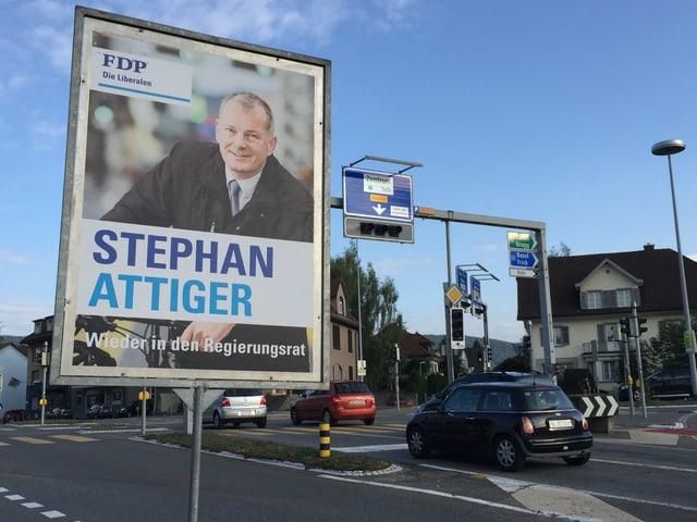 Wahlplakat von Stephan Attiger in Aarau