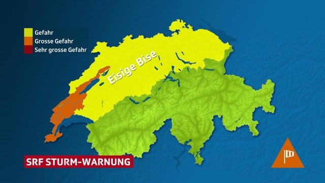 Schweizer Karte mit Warnungen für kräftige Bise.