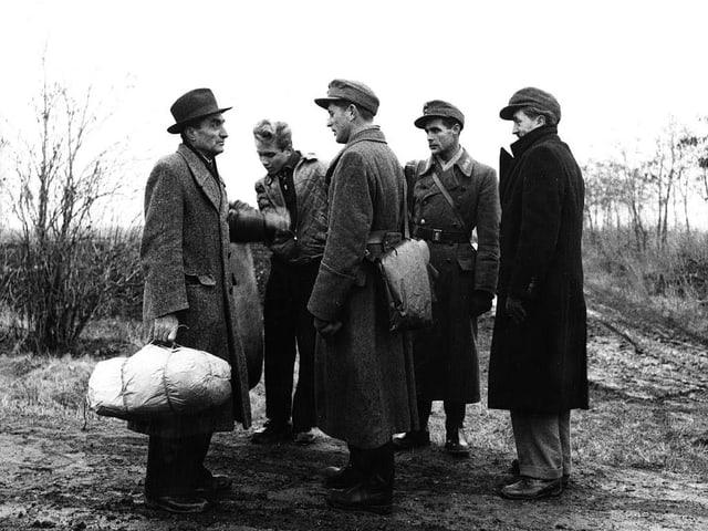 Flüchtlinge an der ungarisch-österreichischen Grenze, 1956
