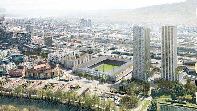 Visualisierung des neuen Hardturm-Stadions mit zwei Türmen.