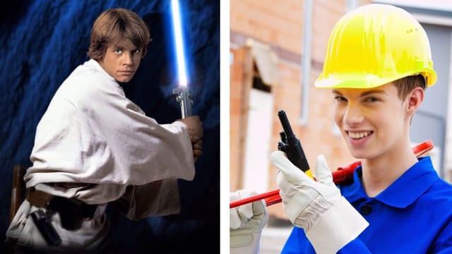Collage: Luke Skywalker und Lehrling auf dem Bau