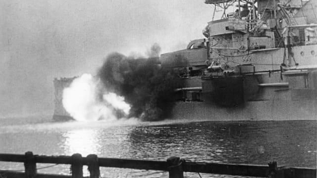 Abschuss von Kampfschiff aus.