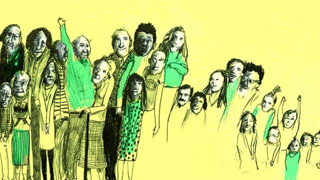 Eine gelb-grüne Illustration: junge und ältere Leute stehen nebeneinander.