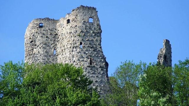 Eine Burgruine unter blauem Himmel.