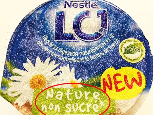 Deckel LC1-Joghurt mit Aufschrift non surcé.
