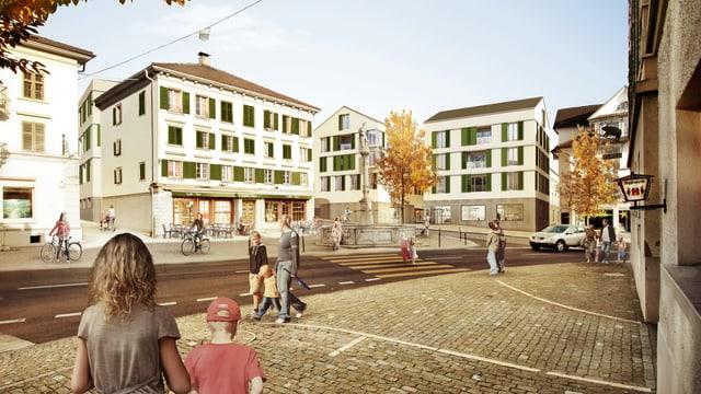 Eine Visualisierung des neuen Dorfkerns in Ruswil.