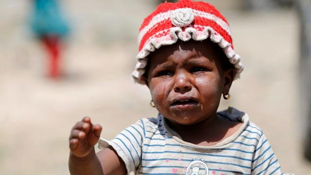 Ein weinendes Mädchen im Jemen.