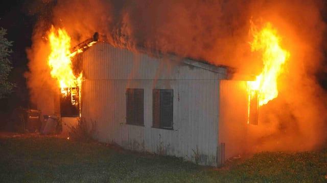 Brennendes Haus in der Nacht.