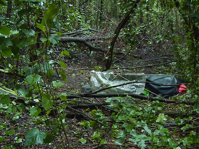 Shelter aus Holz und einer Blache.
