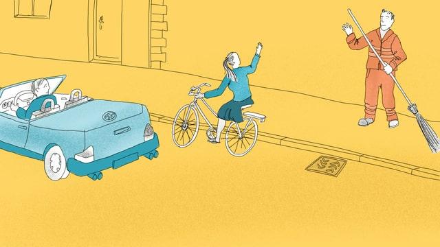 Eine Illustration eines Strassenfegers, der einer Radfahrerin zuwinkt.