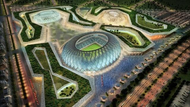 Modell eines Fussballstadions 2022.
