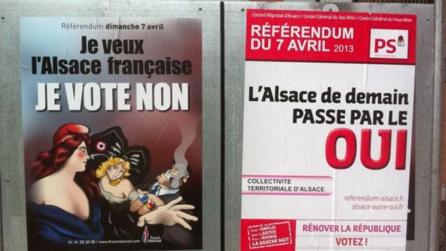 Zwei Plakate. Eines vom Ja-Komitee, eines vom Nein-Komitee.