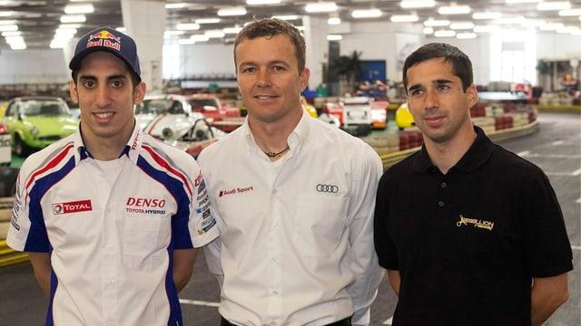 Die drei Schweizer in Le Mans: Sébastien Buemi, Marcel Fässler und Nils Jani (v.l.n.r.).
