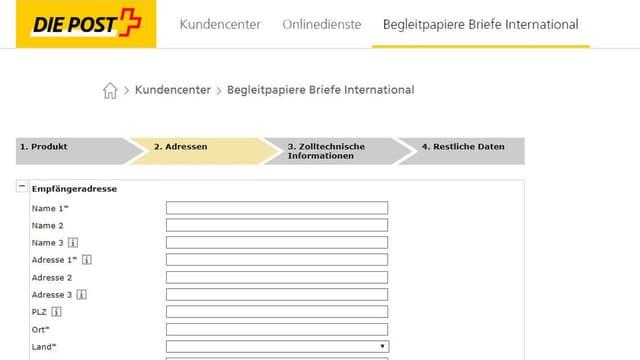 Online-Formular für Auslandversand