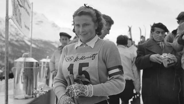 Skunza als gieus olimpics d'enviern il 1948 a San Murezzan.