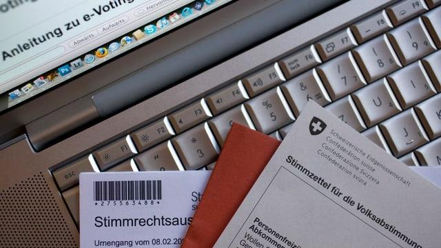 Abstimmungsunterlagen vor PC