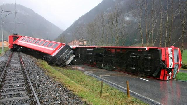 Die Zugkomposition, die am 19. Januar wegen eines starken Westwinds aus den Schinen gehoben wurde.