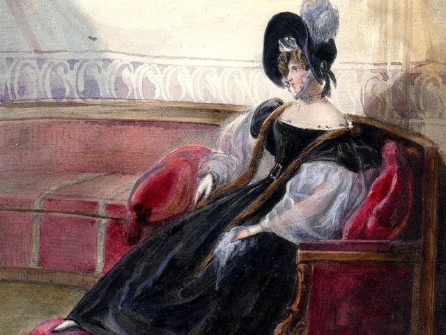 Selbstportrait Hortense im nachtblauen Kleid.