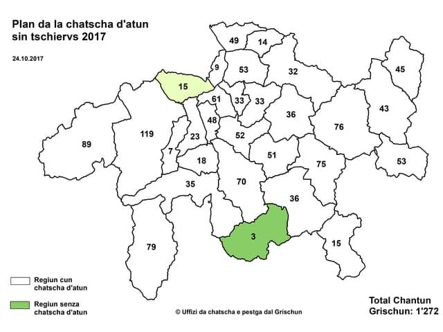 Ina carta dal Grischun cun differentas regiuns.