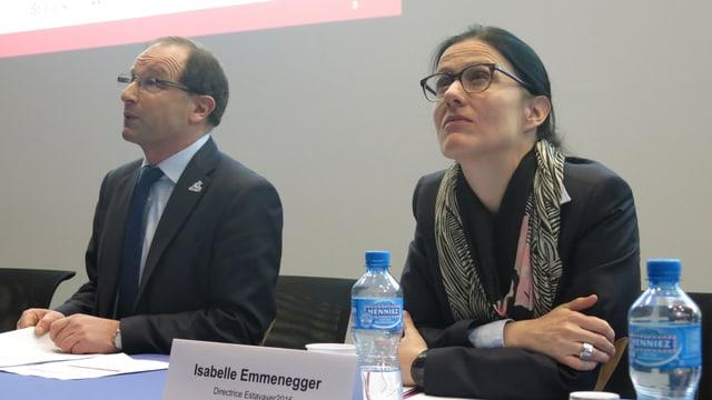 Die Schwingfestdirektorin und der Präsident: Isabelle Emmenegger und Albert Bachmann