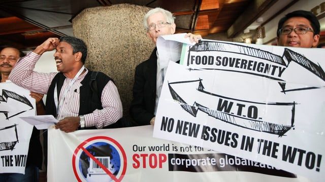 Aktivisten an der WTO-Konferenz in  Nairobi.