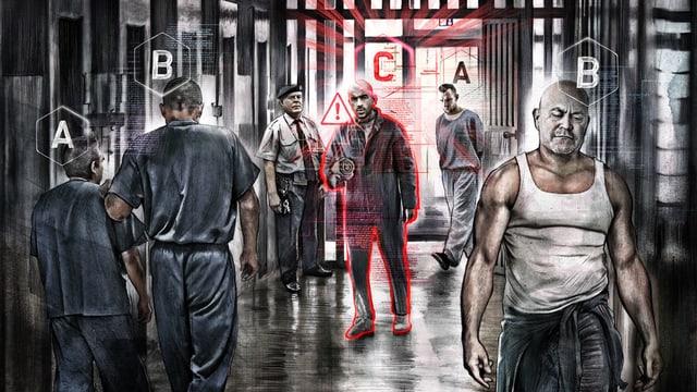 Die Illustration zeigt Gefängnisinsassen, die mit einem Buchstaben A, B oder C gekennzeichnet sind.