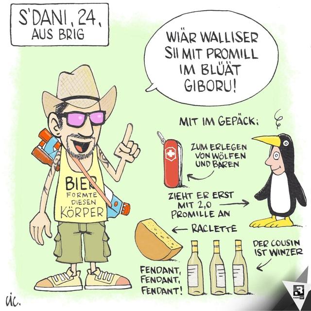 Karikatur eines Mannes mit Hut, Weisswein und Käse.