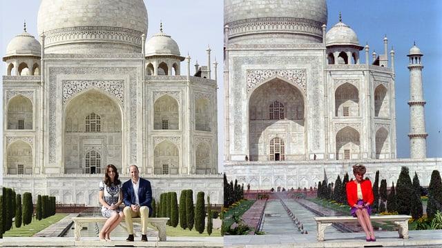 Links: Kate und William vor dem Taj Mahal sitzend. Rechts: Diana in derselben Pose.