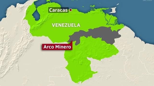 Karte des Gebiets in Venezuela, welches reiche Goldreserven besitzt.