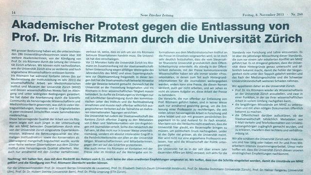Zeitungsausschnitt aus der «NZZ» vom 8. November.