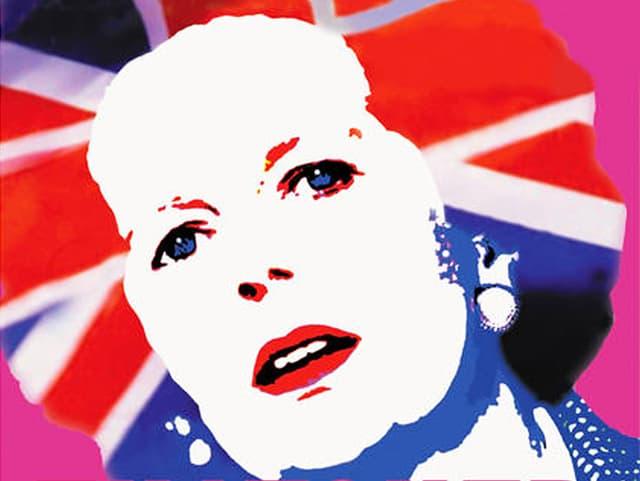 Comicartige Illustration von Margaret Thatchers Kopf mit weissem Gesicht, roten Lippen und Haaren, in die eine Union Jack-Flagge montiert wurde.