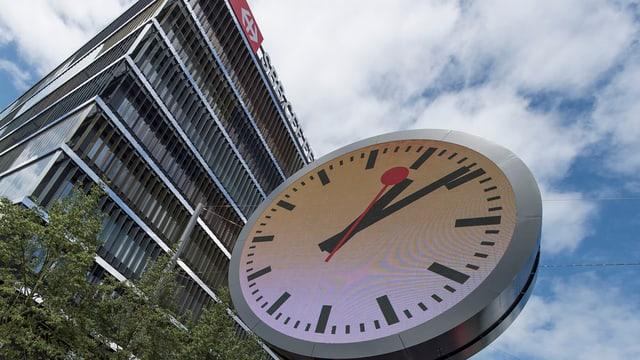 SBB-Uhr vor Gebäude.