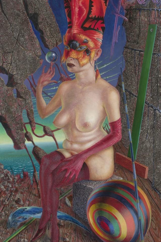 Ein Gemälde: eine Frau sitzt oben ohne auf einem Stein. Sie hat eine üppige, rote Kopfbedeckung.