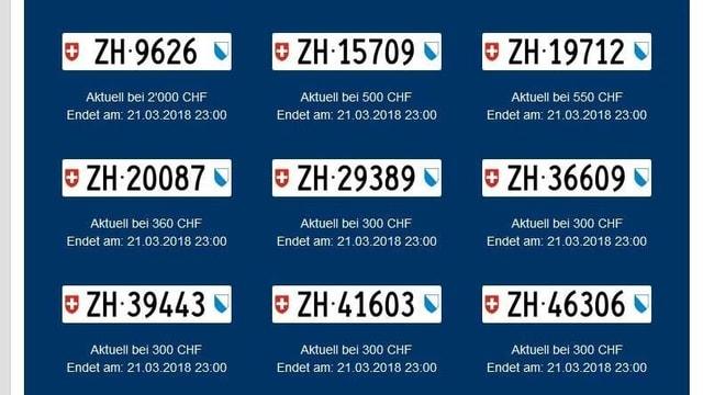 Nummernschilder und die aktuellen Verkaufspreise