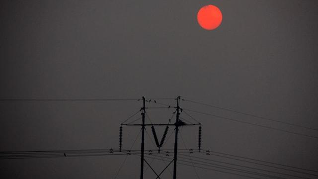 Vögel sitzen auf einem Strommast, der Himmel ist verdunkelt.