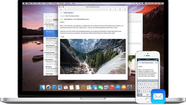 Ein Macbook und ein iPhone nebeneinander