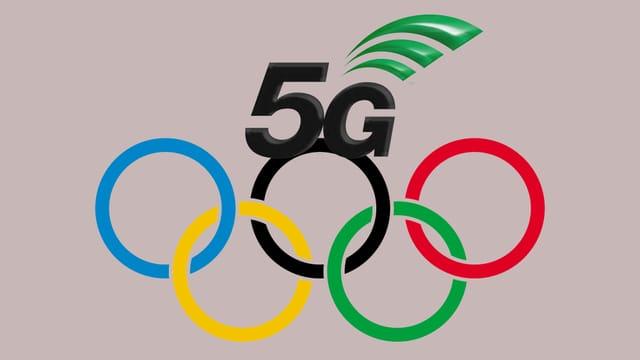 Das 5G-Logo und das Olympia-Logo (5 Ringe)