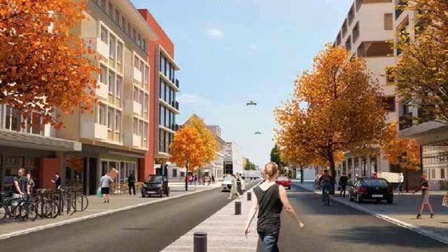 Visualisierung der Landstrasse in Wettingen, wie sie in einigen jahren aussehen könnte. Hohe Gebäude säumen die Strasse, es hat viel Platz für Fussgänger und Velofahrer.