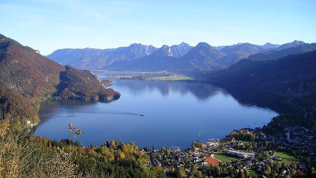 Panoramabild Wolfgangsee vom Plombergstein St Gilgen